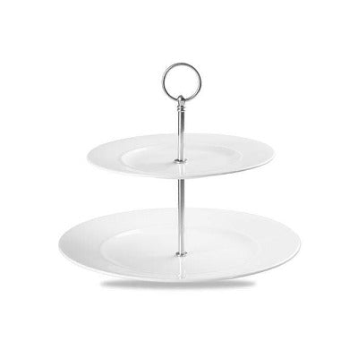 Churchill Alchemy White Two-Tier Plate Tower 28cm - Coffeecups.co.uk
