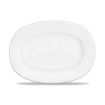 Churchill Alchemy White Rimmed Oval Dish 28cm - Coffeecups.co.uk