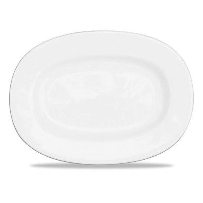 Churchill Alchemy White Rimmed Oval Dish 33cm - Coffeecups.co.uk