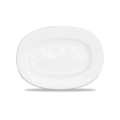 Churchill Alchemy White Rimmed Oval Dish 20cm - Coffeecups.co.uk