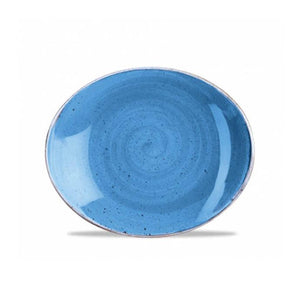 Churchill Stonecast Oval Coupe Plates Cornflower Blue 19.2cm | Churchill Vitrified China | Coffeecups.co.uk