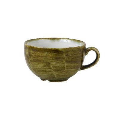 Churchill Stonecast Plume Cappuccino Cups 12oz Olive | Coffeecups.co.uk