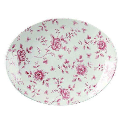 Churchill Vintage Cranberry Rose Chintz Oval Plate 31.7cm - Coffeecups.co.uk