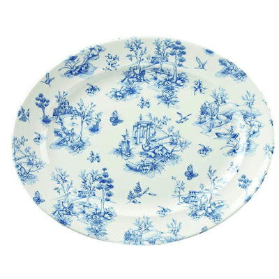 Churchill Vintage Prague Toile Oval Rimmed Dish 36.5cm - Coffeecups.co.uk