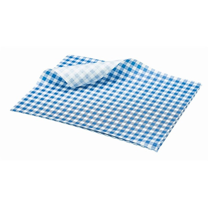 Genware Greaseproof Paper Blue Gingham Print 25 x 20cm (1000 Sheets) - Coffeecups.co.uk
