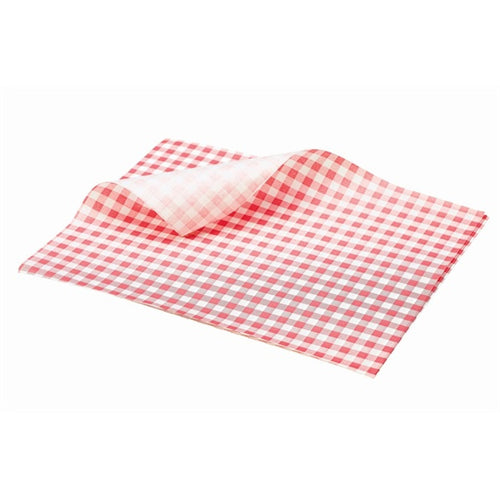 Genware Greaseproof Paper Red Gingham Print 25 x 20cm (1000 Sheets) - Coffeecups.co.uk