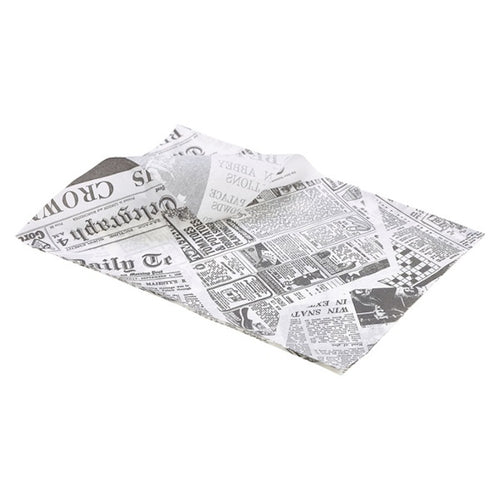 Genware Greaseproof Paper Newspaper Design 35 x 25cm (1000 Sheets) - Coffeecups.co.uk