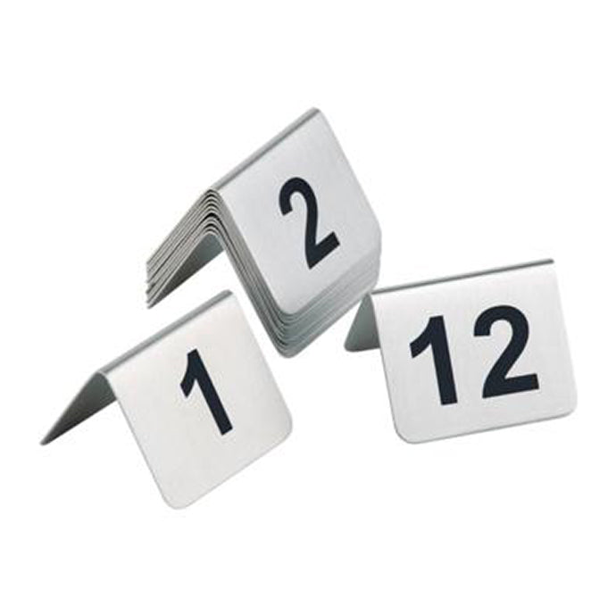 Satin Polished Table Numbers (1-12) - Coffeecups.co.uk