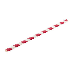 "Paper Drinking Straw 8""  Red/White Stripe Compostable, Pack of 100"