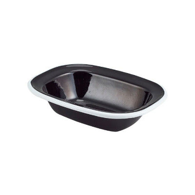 Genware Enamel Rectangular Pie Dish Black 16 x 12cm | Classic Enamelware | Coffeecups.co.uk