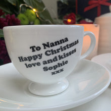 Fine Bone China Teacup and Saucer Set *Personalised With Your Message*