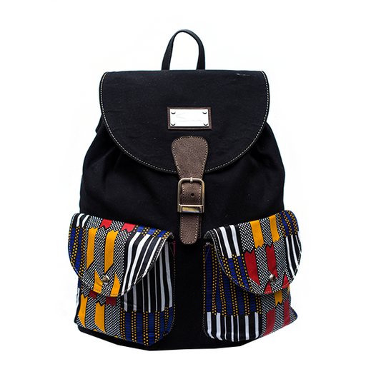 Black with Print Accent Backpack