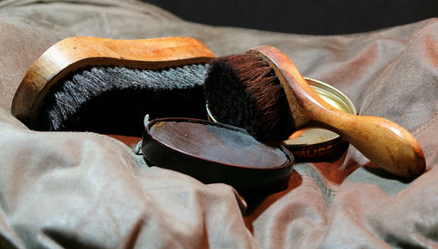 Leather shoe polish and brushes