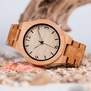 Mens Wooden Bamboo Watch with Full Bamboo Band in Gift Box **FAST USPS DELIVERY! **
