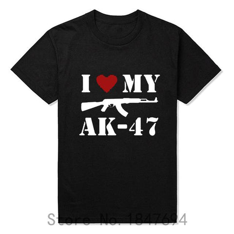 I Love my gun AK47 letters printed T shirts - LYKEEY