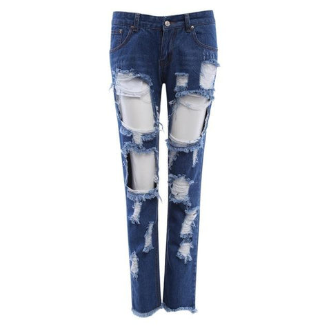 Ripped Mid Waist Skinny Frayed Denim Jeans