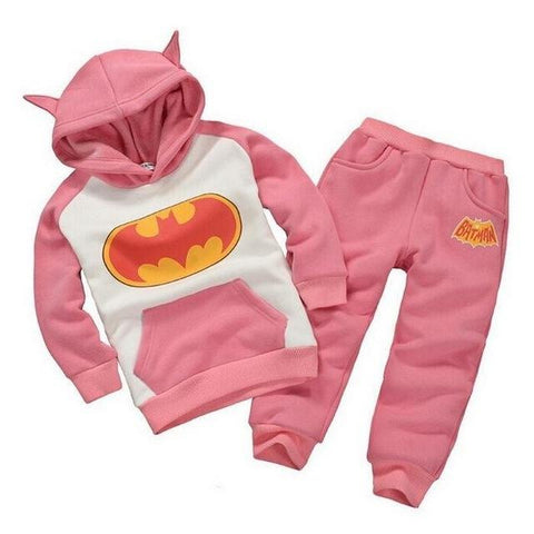 Batman Logo Printed Pink Hoodies Set - LYKEEY