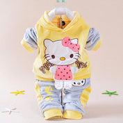 Yellow Cartoon Hello Kitty Tracksuits Set - LYKEEY