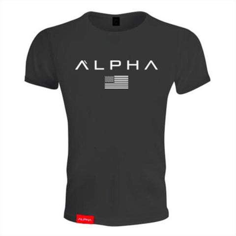 ALPHA with USA flag Letters Printed T-shirt - LYKEEY