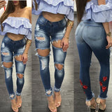 Ripped High Waisted Skinny Jeans Denim