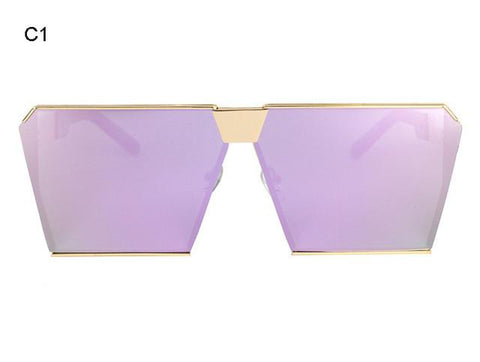 Oversize Vintage Mirrored Sunglasses - LYKEEY