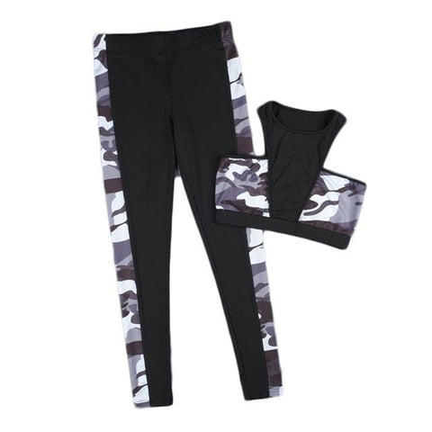 Black Camouflage Breathable Yoga Set - LYKEEY