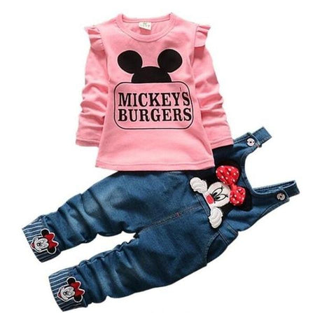 Cartoon Minnie Long Sleeve T-shirt & Denim Overalls Pants Set - LYKEEY
