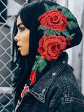 Rose Embroidery Long Sleeve Hoodie Pullover