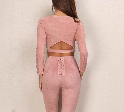 Suede Bandage High-Waist Set