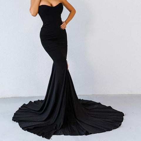 Elegant Wrapped Chest Asymmetric Maxi Dress - LYKEEY
