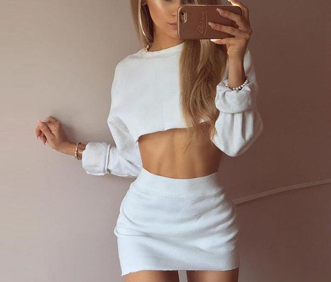 Summer Elegant Crop Top Set