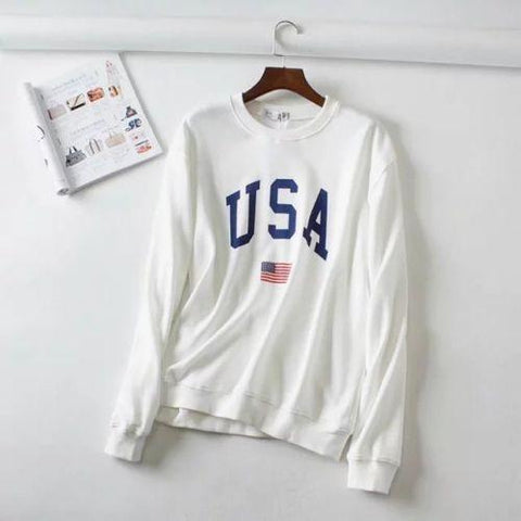 USA Letter and Flag Print Long Sleeve Hooded Pullover