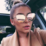 Fashion Unisex Vintage Irregular Glasses Aviator Mirror  Sunglasses - LYKEEY