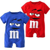 M&M Cartoon Printed Short Sleeve Jumpsuit - LYKEEY