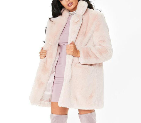 Nelly Elegant Vintage Faux Fur Coat