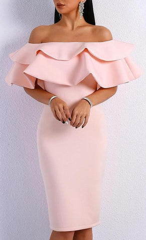Elegant Off Shoulder Slash Neck Ruffles Backless Dress - LYKEEY