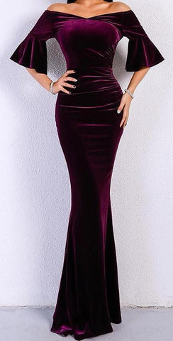Elegant Off Shoulder Speaker Sleeve Bodycon Velvet Dress - LYKEEY