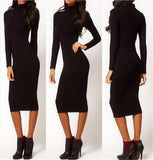 Long Sleeve Dress Turtle Neck Midi Pencil - LYKEEY