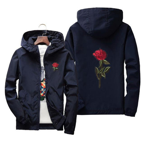 Rose Embroidery College Jacket Oversized Zipper - LYKEEY