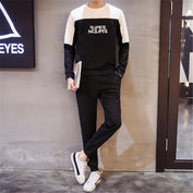 Super Nours Letters Printed Black & White Tracksuits - LYKEEY