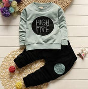 HIGH FIVE Letters Printed on Blue Pullover and Black Pants Set - LYKEEY