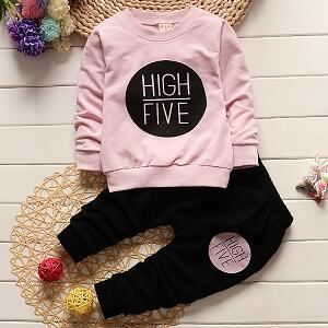HIGH FIVE Letters Printed on Light Pink Pullover and Black Pants Set - LYKEEY