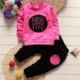HIGH FIVE Letters Printed on Pink Pullover and Black Pants Set - LYKEEY
