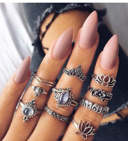 """Diamond Lotus"" Silver Rings Set"