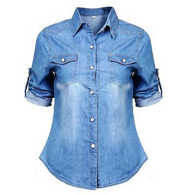 Retro Long Sleeve Blouse Jeans Denim