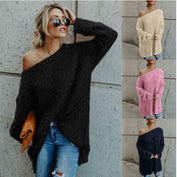 Off Shoulder Knitted Button Pullover