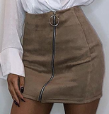 Faux Leather Zip Up Mini Pencil Skirt