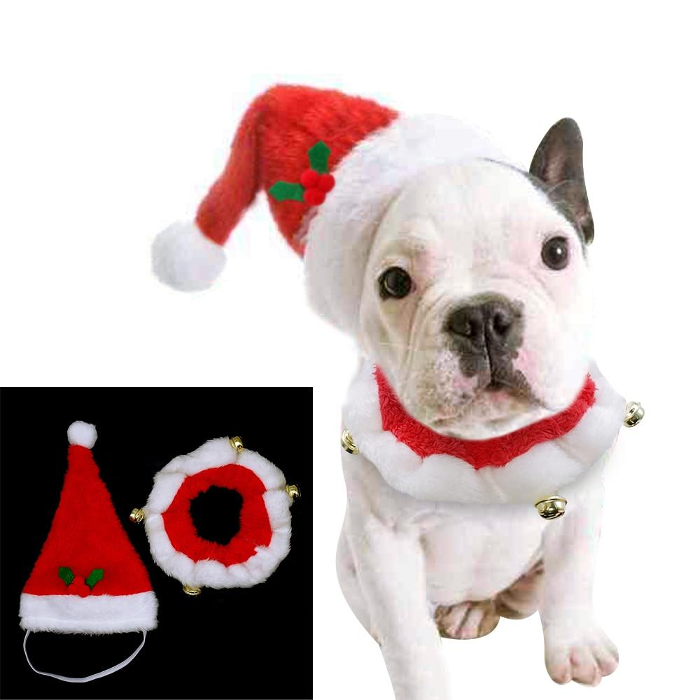 Christmas Pet Dog Accessories Collar Hat