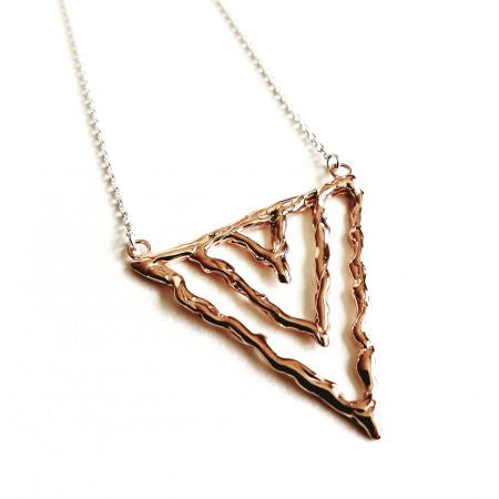 Rose Gold Silver Triangle Necklace