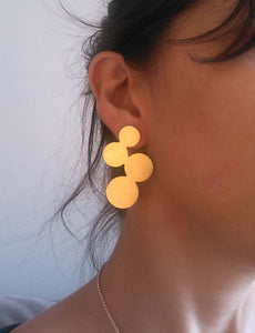 Gold plated silver round screw earrings